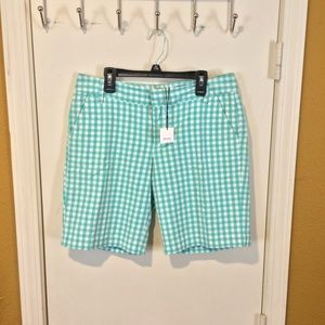 "Vince. women's aqua ""Gingham"" plaid walking shorts"